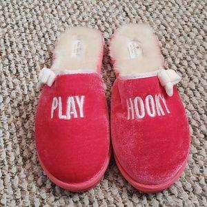 Kate Spade Play Hooky Pink & Cream Slippers